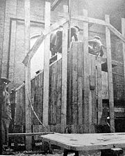 Big Wheel landship wooden mock up under construction at Lincoln