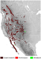 Bighorn Sheep Ovis canadensis distribution map topo 2.png