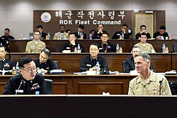 Bill Byrne, commander of U.S. Naval Forces Korea, and Han, Dong-Jin, chief of staff for Commander, Republic of Korea Fleet.jpg