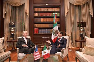 Los Pinos - President Enrique Peña Nieto meets with former U.S. President Bill Clinton in Los Pinos.