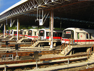 Mass Rapid Transit (Singapore) - Trains parked at the bay of the Bishan Depot