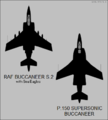 Blackburn Buccaneer S.2 and P.150 top-view silhouettes.png