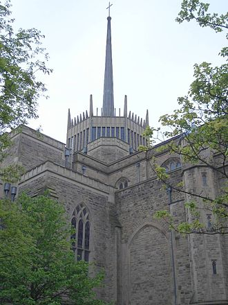 Blackburn Cathedral - The exterior, with the distinctive aluminium spire