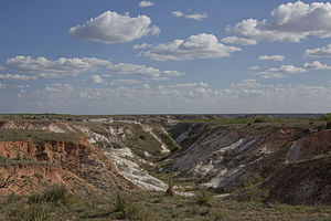 Ogallala Formation - East side of Blanco Canyon — showing the red-colored Ogallala formation and the bright white color of the Blanco formation.