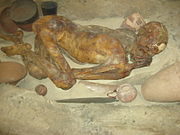 Mummified pre-dynastic man in reconstructed Egyptian grave-pit (photo taken in 2008)