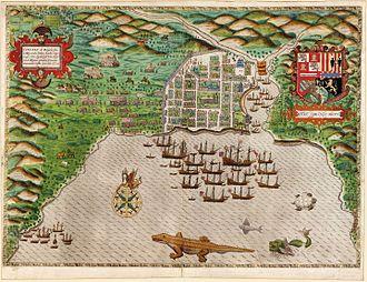 Battle of Santo Domingo (1586) - Sir Francis Drake in Santo Domingo 1585, hand-colored engraving, by Baptista Boazio, 1589