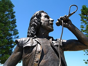 AC/DC - Bronze statue of Bon Scott, unveiled in Fremantle, Western Australia, in October 2008
