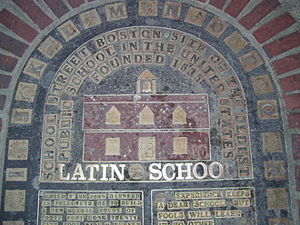 Boston Latin School - Plaque on School Street commemorating the site of the first Boston Latin School building