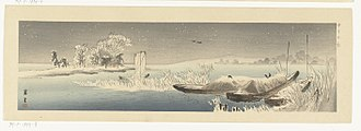 Marine art - 20th-century ukiyo-e print of Boats in Snow