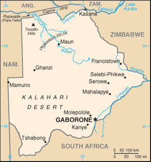 A map of Botswana.