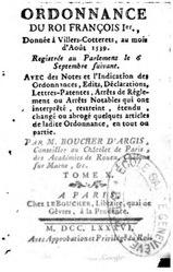 Ordonnance de François Ier, donnée à Villers-Cotterêts, au mois d'Août 1539