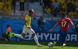 Gary Medel - Medel in action against Neymar of Brazil at World Cup 2014.