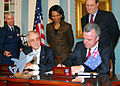 Brendan Nelson signing the JSF Production, Sustainment and Follow-on Development Memorandum of Understanding for Australia.jpg