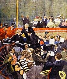 Dibujo de la época del atentado de Gaetano Bresci contra Umberto I de Italia.