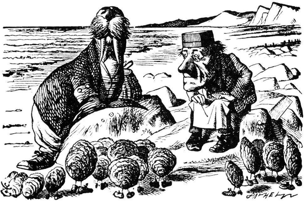 Drawing of walrus, and square-headed men, both perched on rocks, with ocean and cliffs in background