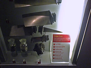 British Airways Flight 9 - Damaged engine parts from BA 9 on display at Auckland Museum