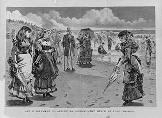 Long Branch, New Jersey - The Beach at Long Branch - wood cut illustration by Winslow Homer (1869)