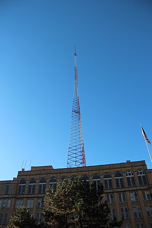 Brooklyn Technical High School - The radio transmitting antenna atop the school