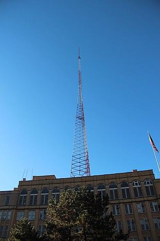 Brooklyn Technical High School - The radio transmitting antenna atop the school