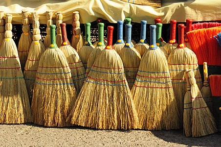 Brooms for sale on an open market in Macedonia