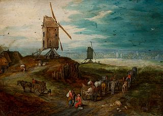 Landscape with windmills.