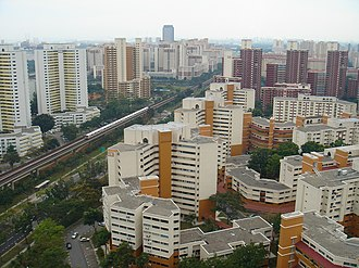 History of the Republic of Singapore - Top view of Bukit Batok West. Large scale public housing development programme has created high housing ownership among the population.