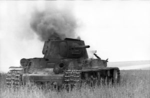 Battle of Voronezh (1942) - A Soviet KV-1 heavy tank destroyed near Voronezh (1942)