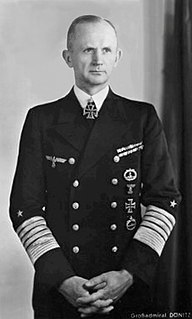 Karl Dönitz Commander of the German submarine Forces during World War II; President of Nazi Germany