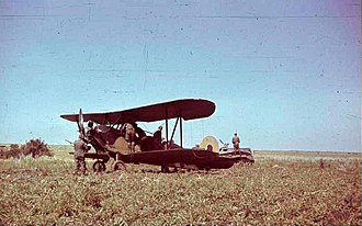 Polikarpov Po-2 - A damaged and abandoned Po-2 forced to land in Ukraine, and subsequently captured by German troops, 1941.