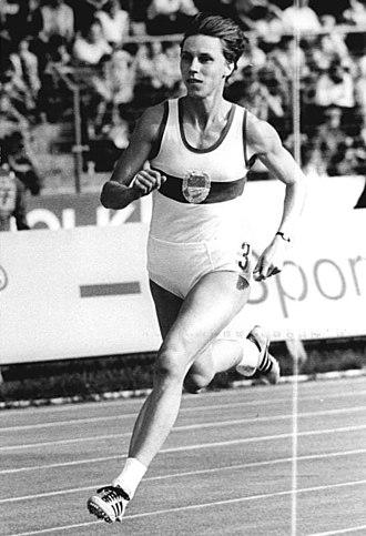 Marita Koch - Koch at the 1984 East German Championships in Athletics in Erfurt, Thuringia, Germany