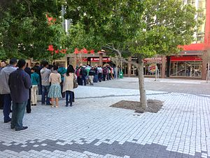 Burger King franchises - The line outside the Burger King in Cape Town, South Africa on opening day. It was one of the first Burger Kings to open in the country when it opened in May 2013.