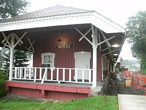 Butler, New Jersey - The former Butler station (for the New York, Susquehanna and Western Railroad) as seen in August 2011 just before Hurricane Irene