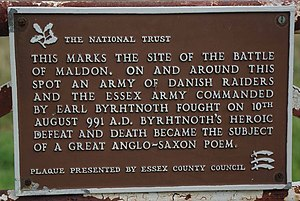 The Battle of Maldon - Byrhtnoth's Plaque on Northey Island