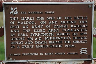 The Battle of Maldon - Byrhtnoth's Plaque near Northey Island
