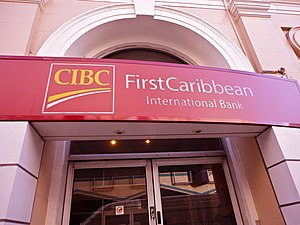 CIBC FirstCaribbean International Bank - CIBC FirstCaribbean International Bank branch in Bridgetown, Barbados.