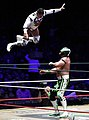 CMLL November 30 Volador Jr dive on Euforia.jpg