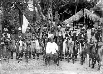 West Timor - Molo chief with delegation visiting Dutch representative in Babau.
