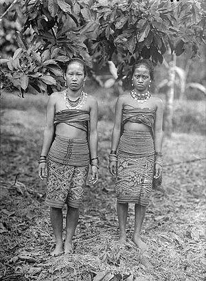 Portrait of two Dayak women