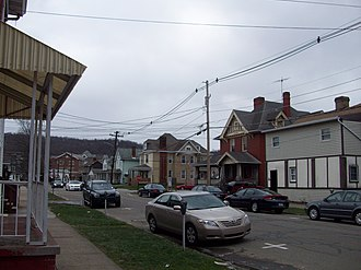 California, Pennsylvania - Near the university (which begins at the brick building in the background on the left), many large early-Twentieth Century houses have been converted into student apartments.