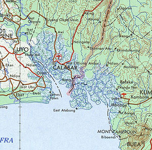 The Nigeria-Cameroon border region on the coast from a 1963 map, with Bakassi peninsula in the middle