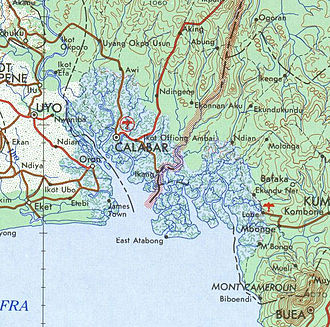 Bakassi - The Nigeria-Cameroon border region on the coast from a 1963 map, with Bakassi peninsula in the middle