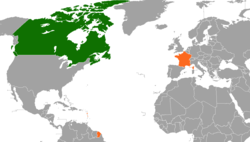 Map indicating locations of Canada and France