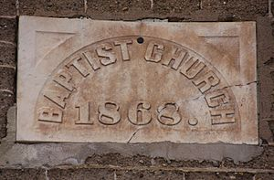 First Baptist Church (Garden City, Minnesota) - The capstone with the year 1868