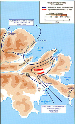 Battle of Attu - Map showing the recapture of Attu in 1943