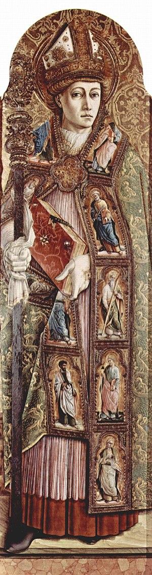 Emygdius - Saint Emygdius, painted by Carlo Crivelli 1473 (tempera on wood)