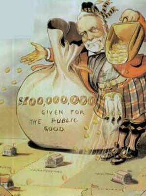 Carnegie library - Andrew Carnegie's philanthropy as golden shower. Puck magazine cartoon by Louis Dalrymple, 1903