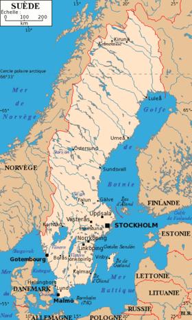 carte: Géographie de la Suède