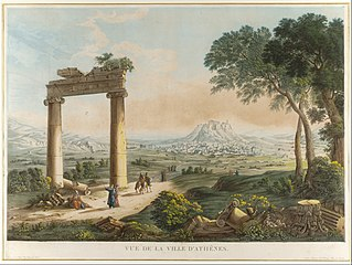 View of Athens with Hadrians Aqueduct