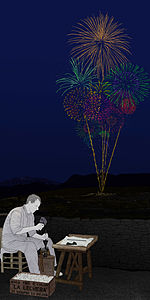 """Per high illustrative merit. Image made by """"Andrés Marín Jarque"""", from the Valencian Museum of Ethnology. Is an image from the collection of the museum, so it was designed with education purpose. It illustrates a Valencian artisan of Fireworks (which are very popular in the Land of Valencia, with tradition) and also a Firework as could have been made in a Valencian rural town in the 50's or the 70's. I believe it deserves to be considered a Featured Image because it shows How Fireworks are, how they are made, and how they were made in a particular age (mid-XX century) and in a particular place (Valencia)."""