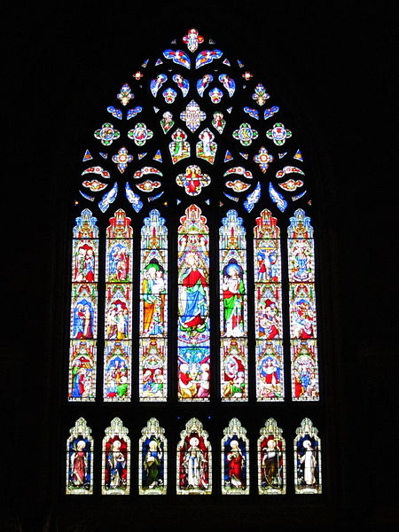 File:Cathedral of the Immaculate Conception (Albany, New York) - interior, stained glass window depicting the life of the Blessed Virgin Mary.jpg